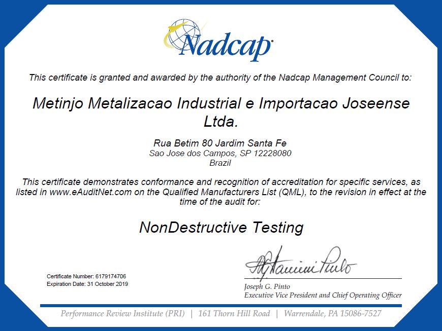 Nadcap Certification Non Destructive Testing Metinjo Special