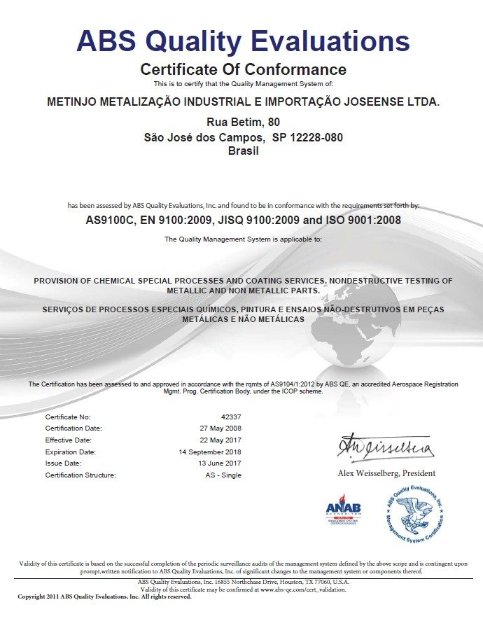 Certification ABS AS9100C - Metinjo Special Processes and ...