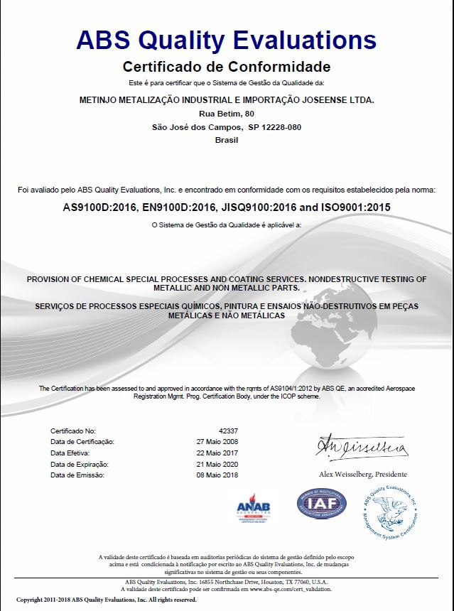 Certification ABS AS9100D - Metinjo Special Processes and ...
